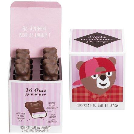 Ourson guimauve à la fraise enrobé de chocolat par Jeff de Bruges